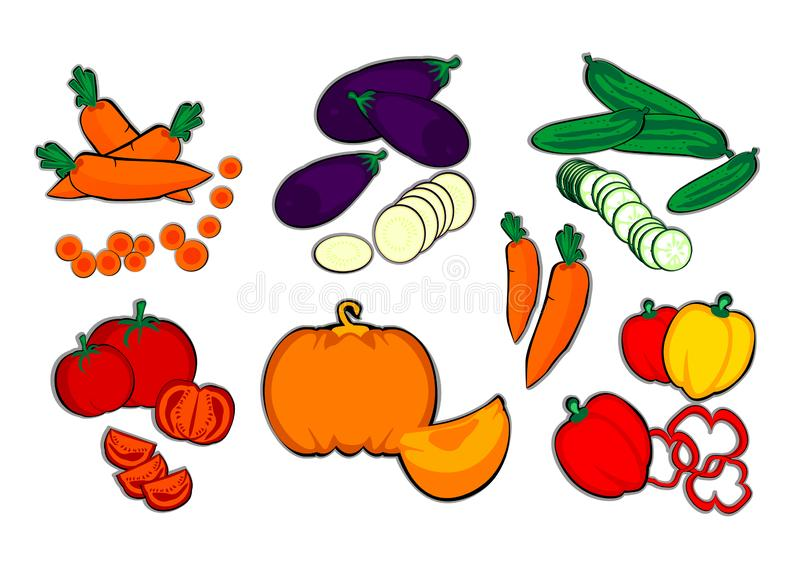 Τα λαχανικά, καρότο, μελιτζάνα, αγγούρι, ντομάτα, κολοκύθα, πάπρικα, φθινόπωρο, η συγκομιδή, αγρόκτημα, χρωμάτισαν, διάνυσμα, απε ελεύθερη απεικόνιση δικαιώματος