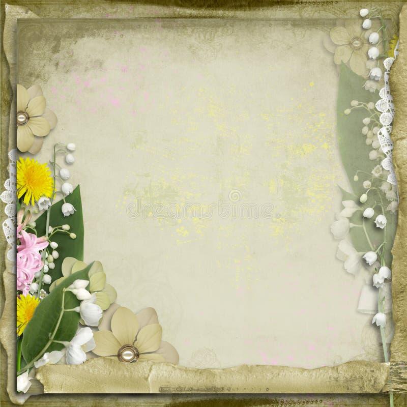τα λουλούδια ανασκόπησης αναπηδούν τον τρύγο διανυσματική απεικόνιση