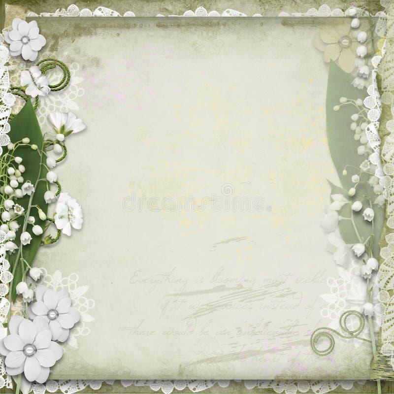 τα λουλούδια ανασκόπησης αναπηδούν το εκλεκτής ποιότητας λευκό διανυσματική απεικόνιση