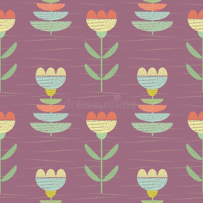 Τα λουλούδια χρώματος κρητιδογραφιών με το κατασκευασμένο ύφασμα κοιτάζουν Διανυσματικό άνευ ραφής σχέδιο στο ροδαλό πορφυρό υπόβ διανυσματική απεικόνιση