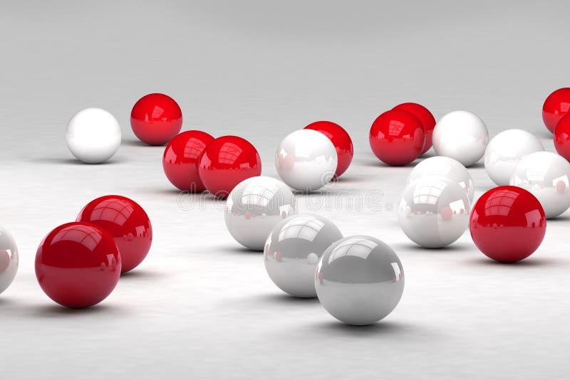 Τα μέρη των άσπρων και κόκκινων σφαιρών αλληλεπιδρούν διανυσματική απεικόνιση