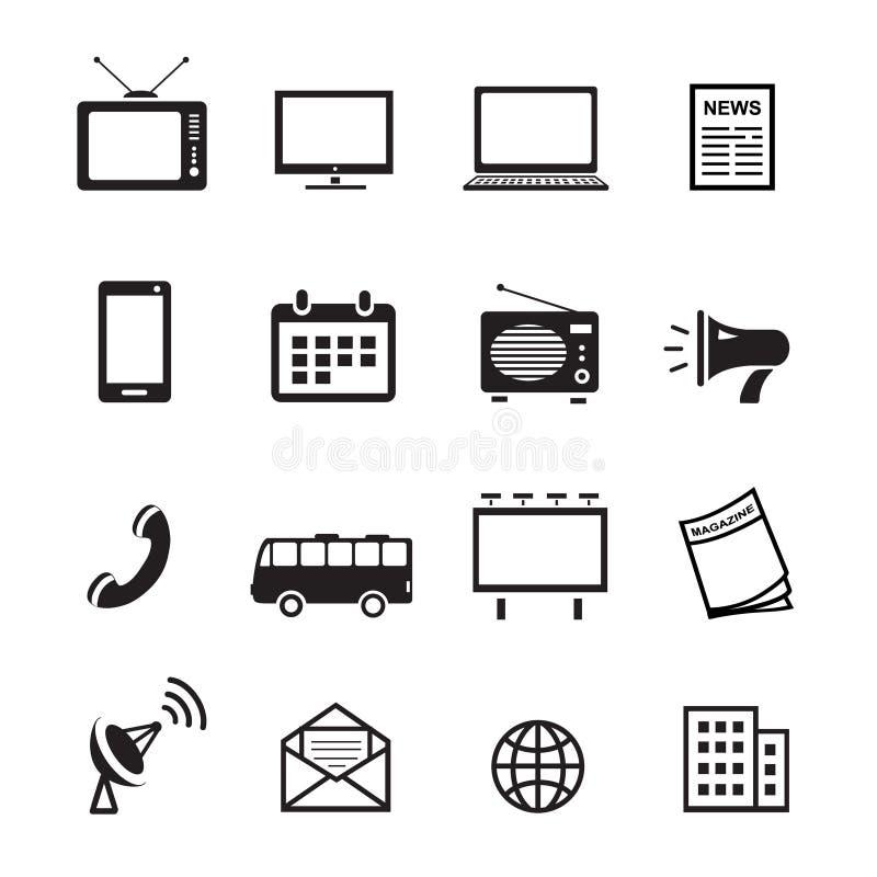 Τα μέσα διαφήμισης σκιαγραφούν τα εικονίδια, το μάρκετινγκ και την τηλεόραση, το ραδιόφωνο και το ικανοποιημένο διάνυσμα Διαδικτύ διανυσματική απεικόνιση