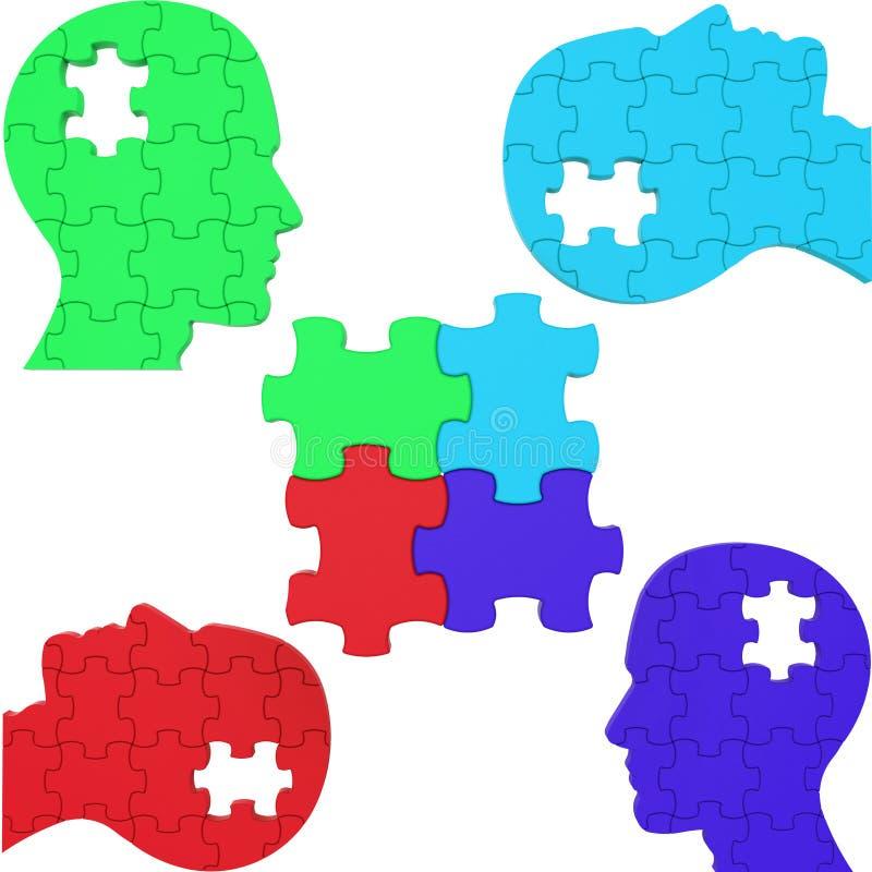 Τα μέσα κεφαλιών ομαδικής εργασίας σκέφτονται για το και συνδυασμένος διανυσματική απεικόνιση