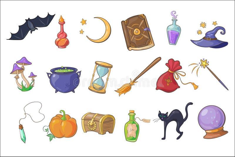 Τα μαγικά σημάδια αποκριών θέτουν, καπέλο μάγων, μαγικό βιβλίο, φίλτρο, σκούπα, σφαίρα κρυστάλλου, στήθος, κλεψύδρα, κολοκύθα, δι ελεύθερη απεικόνιση δικαιώματος