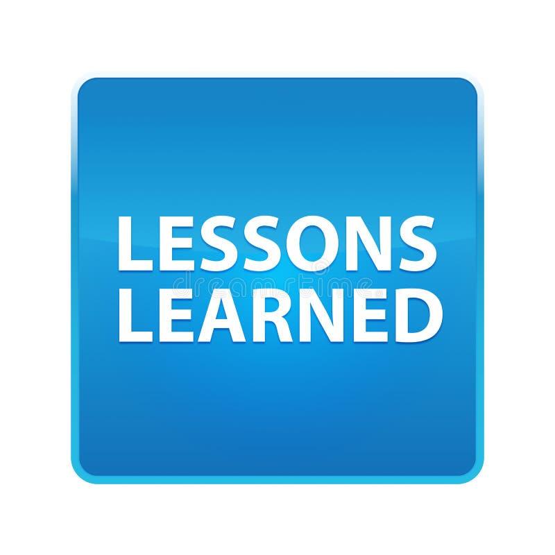 Τα μαθήματα έμαθαν το λαμπρό μπλε τετραγωνικό κουμπί ελεύθερη απεικόνιση δικαιώματος