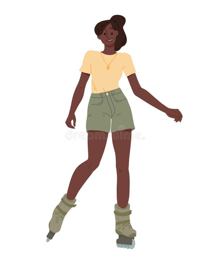 Τα μαύρα κορίτσια οδηγούν στα σαλάχια κυλίνδρων Αφρικανική νέα οδήγηση γυναικών διανυσματική απεικόνιση