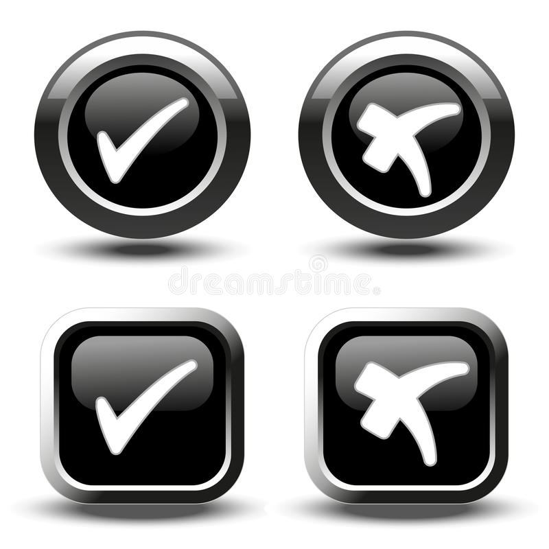 Τα μαύρα κουμπιά με τον άσπρο απλό έλεγχο χαρακτηρίζουν τα σύμβολα, τα κουμπιά τετραγώνων και κύκλων διανυσματική απεικόνιση