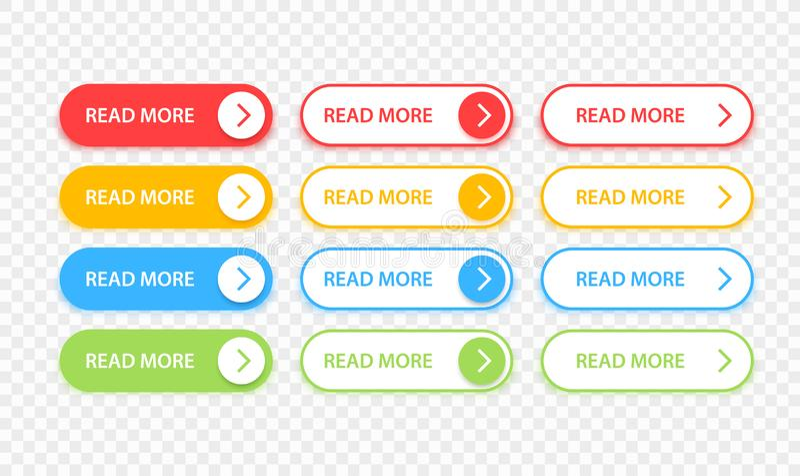 Τα μεγάλα κουμπιά συλλογής διαβάζουν περισσότερους Διαφορετικό ζωηρόχρωμο σύνολο κουμπιών Εικονίδια Ιστού r ελεύθερη απεικόνιση δικαιώματος
