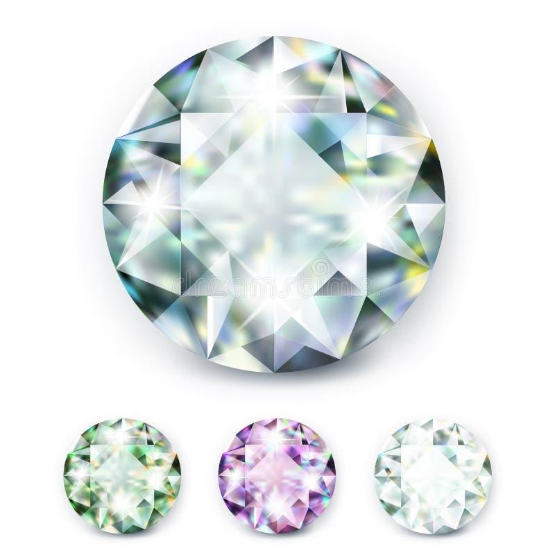 Τα μεγάλα χρωματισμένα διαμάντια κοσμημάτων με τα rhinestones και φωτεινός λάμπουν διανυσματική απεικόνιση