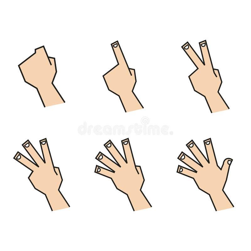 Τα μετρώντας χέρια δάχτυλων βλέπουν πίσω στοκ φωτογραφίες