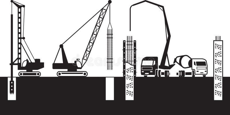 Τα μηχανήματα οικοδόμησης κάνουν τα θεμέλια ενός κτηρίου διανυσματική απεικόνιση