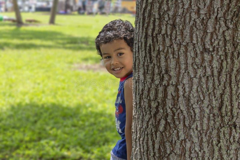 Τα μικρά αχλάδια αγοριών από πίσω από ένα μεγάλο δέντρο με ένα χαμόγελο που εξετάζει τη κάμερα στοκ εικόνα με δικαίωμα ελεύθερης χρήσης