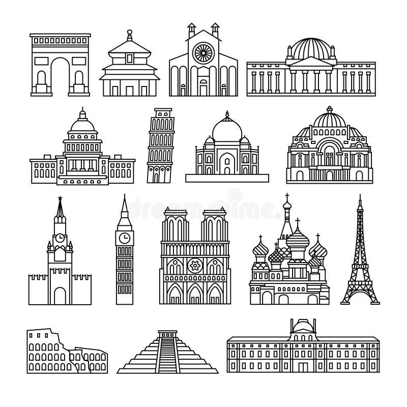 Τα μνημεία λεπταίνουν τα εικονίδια γραμμών διανυσματική απεικόνιση