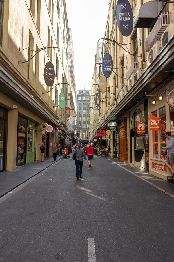 Τα μοναδικά laneways της Μελβούρνης και arcades της κεντρικής επιχείρησης της Μελβούρνης στοκ φωτογραφίες