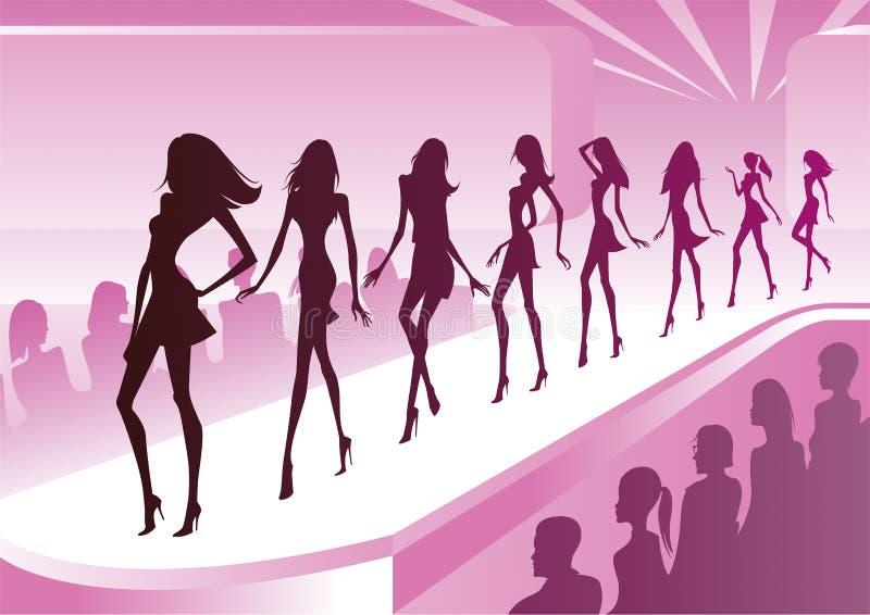 Τα μοντέλα μόδας εμφανίζουν νέα ενδύματα διανυσματική απεικόνιση