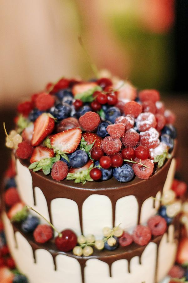 Τα μούρα σμέουρων βακκινίων γαμήλιων φραουλών συσσωματώνουν με τη σοκολάτα σε ένα ξύλινο υπόβαθρο να εξισώσουν υπαίθρια κλείστε ε στοκ εικόνα με δικαίωμα ελεύθερης χρήσης