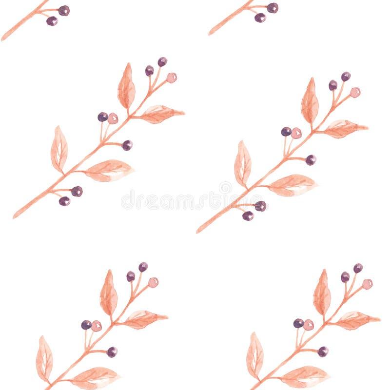 Τα μούρα φύλλων Watercolor χρωμάτισαν την άνευ ραφής πτώση φθινοπώρου σχεδίων διανυσματική απεικόνιση