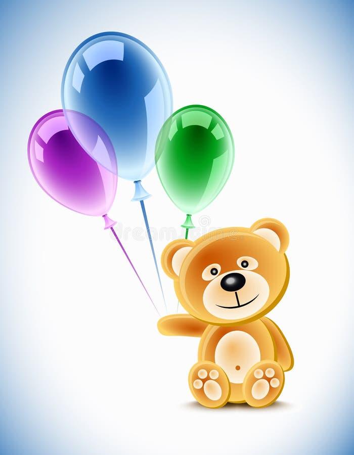 τα μπαλόνια αντέχουν teddy διανυσματική απεικόνιση