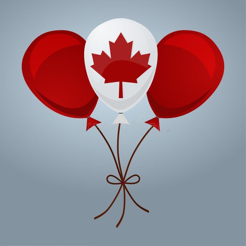 Τα μπαλόνια στην καναδική σημαία χρωματίζουν την απομονωμένη απεικόνιση στοκ εικόνες