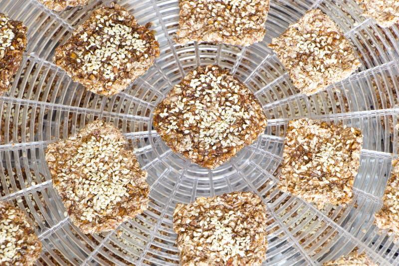 Τα μπισκότα Vegan προετοιμάζονται στο dehydrator πλέγμα στοκ εικόνες