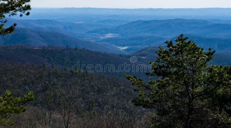 Τα μπλε βουνά κορυφογραμμών από τον όρμο λεκανών αγνοούν, μπλε χώρος στάθμευσης κορυφογραμμών, βόρεια Καρολίνα, ΗΠΑ στοκ φωτογραφίες με δικαίωμα ελεύθερης χρήσης