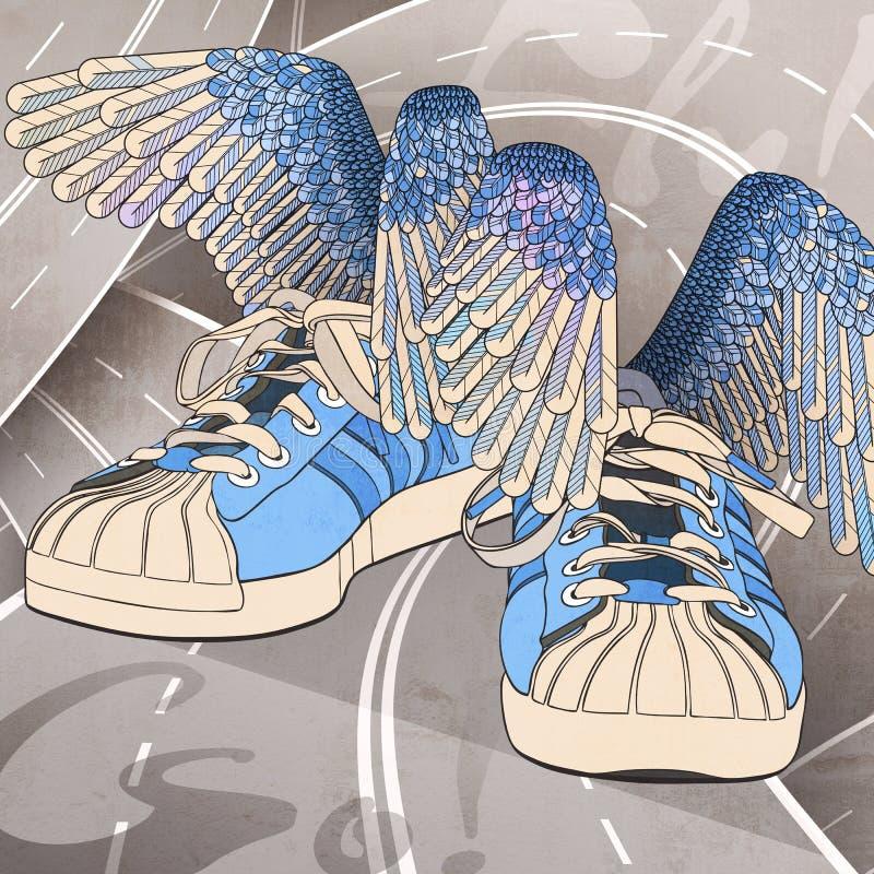 Τα μπλε πάνινα παπούτσια της Hermes με τα φτερά στα σταυροδρόμια στοκ φωτογραφία