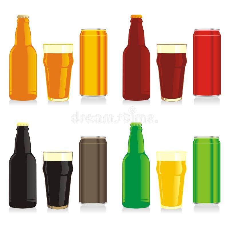 τα μπουκάλια μπύρας κονσερβοποιούν τα διαφορετικά γυαλιά που απομονώνονται ελεύθερη απεικόνιση δικαιώματος