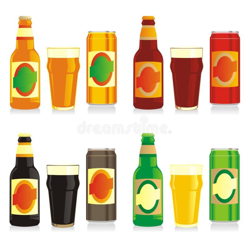 τα μπουκάλια μπύρας κονσερβοποιούν τα διαφορετικά γυαλιά που απομονώνονται στοκ φωτογραφία με δικαίωμα ελεύθερης χρήσης