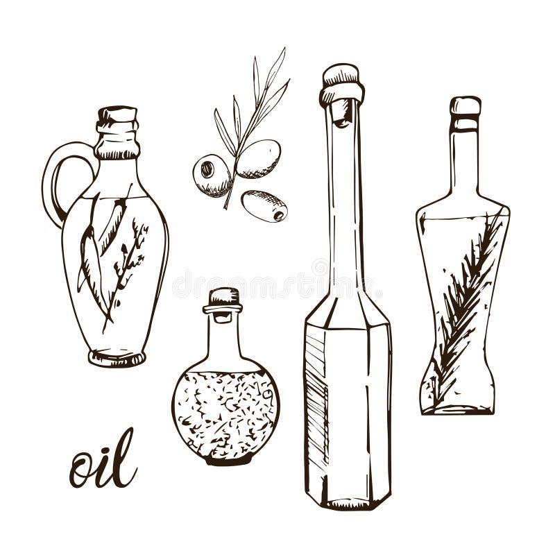 Τα μπουκάλια πετρελαίου δίνουν το συρμένο σκίτσο διανυσματική απεικόνιση