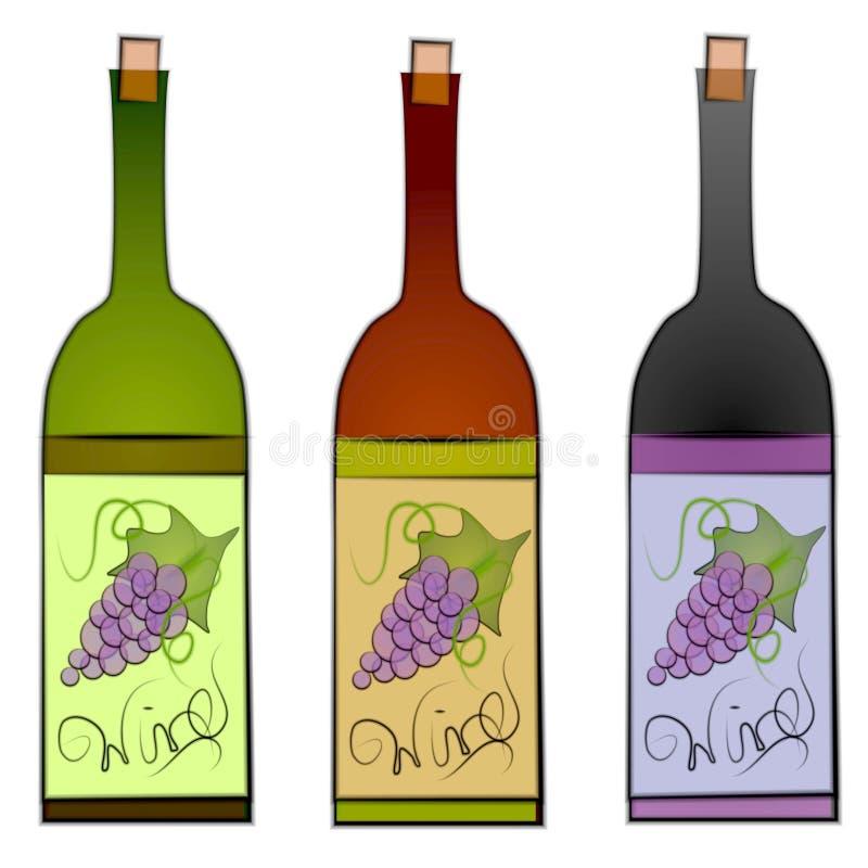 τα μπουκάλια τέχνης ψαλιδίζουν το κρασί διανυσματική απεικόνιση