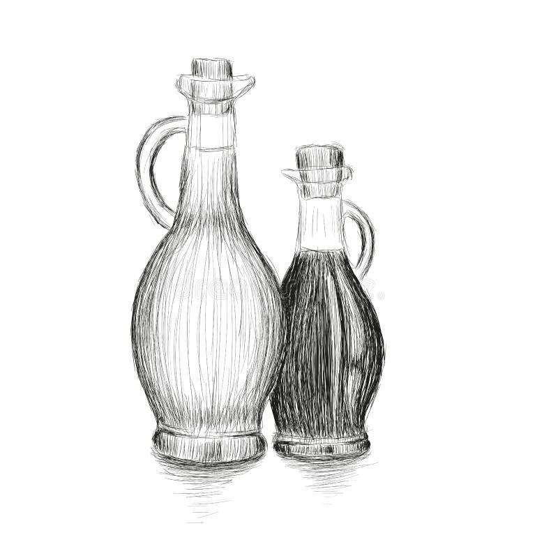 Τα μπουκάλια του ελαίου και του ξιδιού ελιών δίνουν τη συρμένη διανυσματική απεικόνιση Σύνολο μαγειρεύοντας σκίτσου μπουκαλιών ελεύθερη απεικόνιση δικαιώματος
