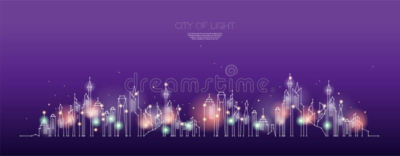 Τα μόρια, η γεωμετρική τέχνη, η γραμμή και το σημείο της νύχτας πόλεων ελεύθερη απεικόνιση δικαιώματος