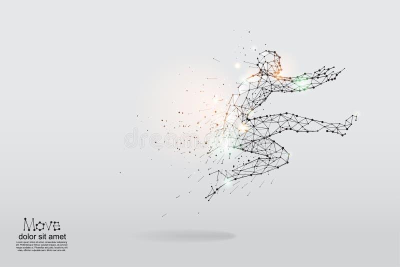 Τα μόρια, η γεωμετρική τέχνη, η γραμμή και το σημείο του ανθρώπινου άλματος διανυσματική απεικόνιση