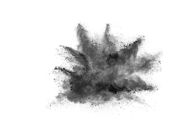 Τα μόρια του ξυλάνθρακα στο άσπρο υπόβαθρο, αφηρημένη σκόνη στο άσπρο υπόβαθρο στοκ φωτογραφία