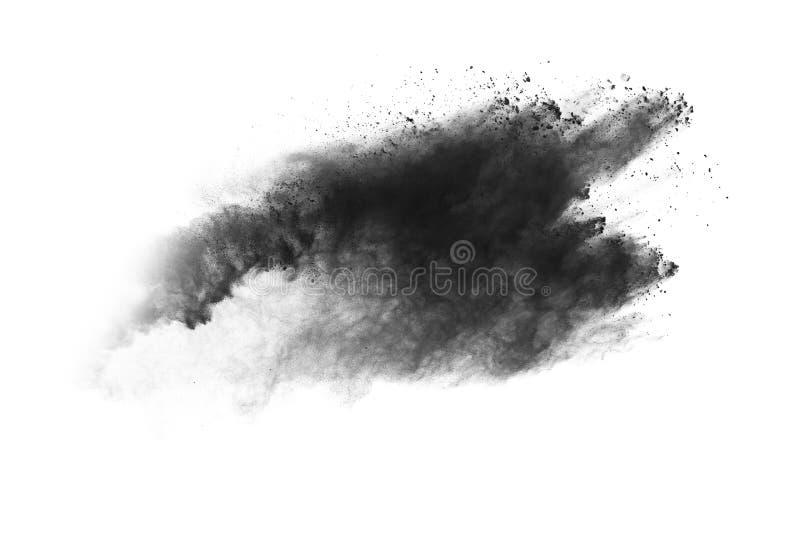Τα μόρια του ξυλάνθρακα στο άσπρο υπόβαθρο, αφηρημένη σκόνη στο άσπρο backgroun στοκ εικόνες