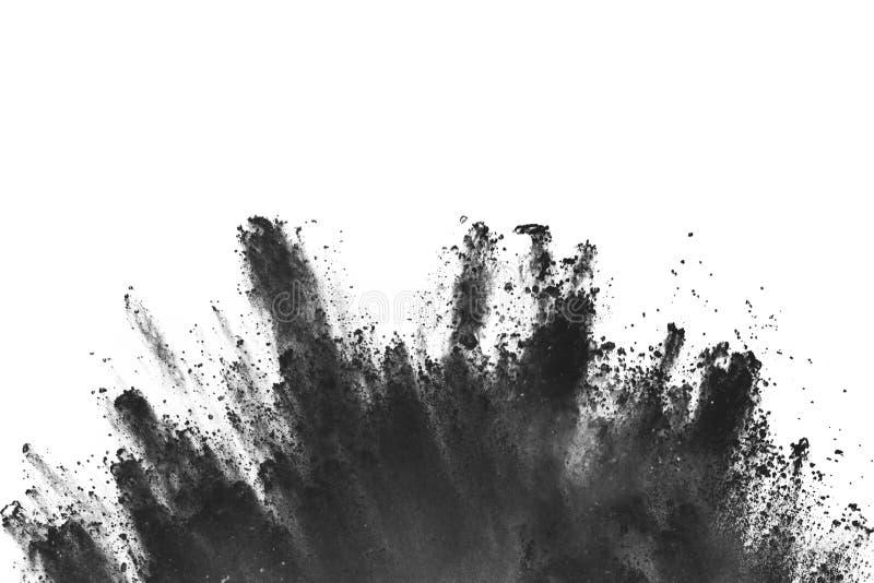 Τα μόρια του ξυλάνθρακα στο άσπρο υπόβαθρο, αφηρημένη σκόνη στο άσπρο backgroun στοκ εικόνα