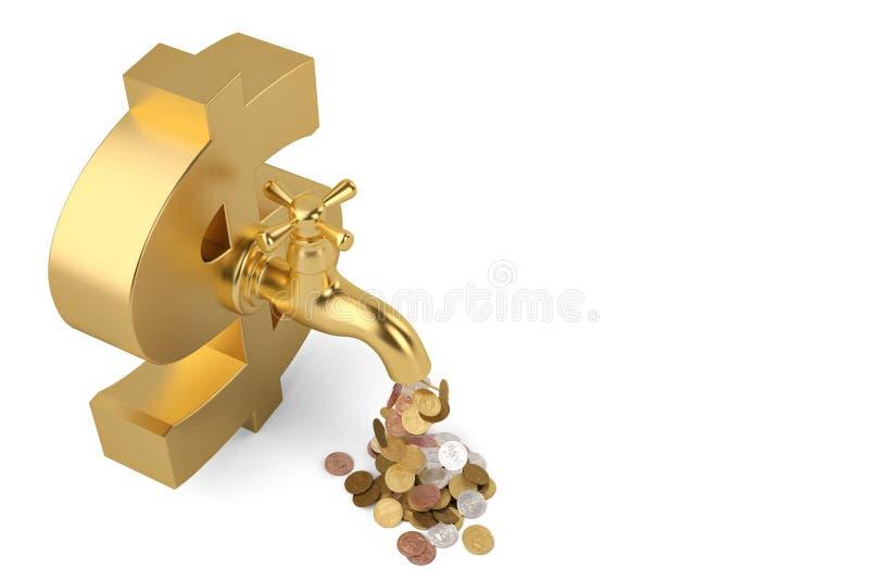 Τα νομίσματα πέφτουν από τη βρύση και το μεγάλο σημάδι δολαρίων που απομονώνονται στο άσπρο BA ελεύθερη απεικόνιση δικαιώματος