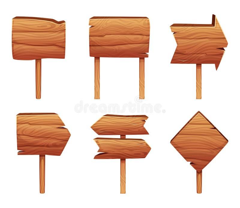 Τα ξύλινα σημάδια κατεύθυνσης απομονώνουν στο άσπρο υπόβαθρο απεικόνιση αποθεμάτων