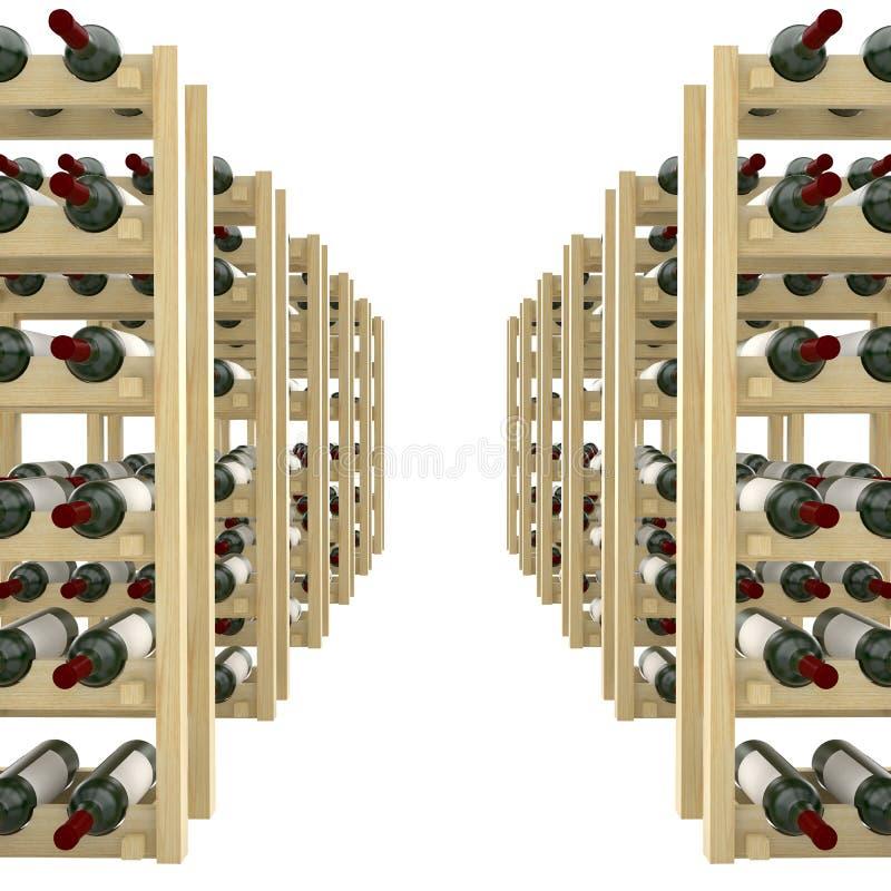 Τα ξύλινα ράφια με τα μπουκάλια του κρασιού απομονώνουν στο άσπρο υπόβαθρο διανυσματική απεικόνιση