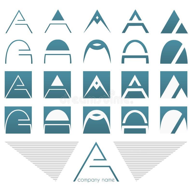 Τα λογότυπα και τα εικονίδια θέτουν με το γράμμα Α απεικόνιση αποθεμάτων