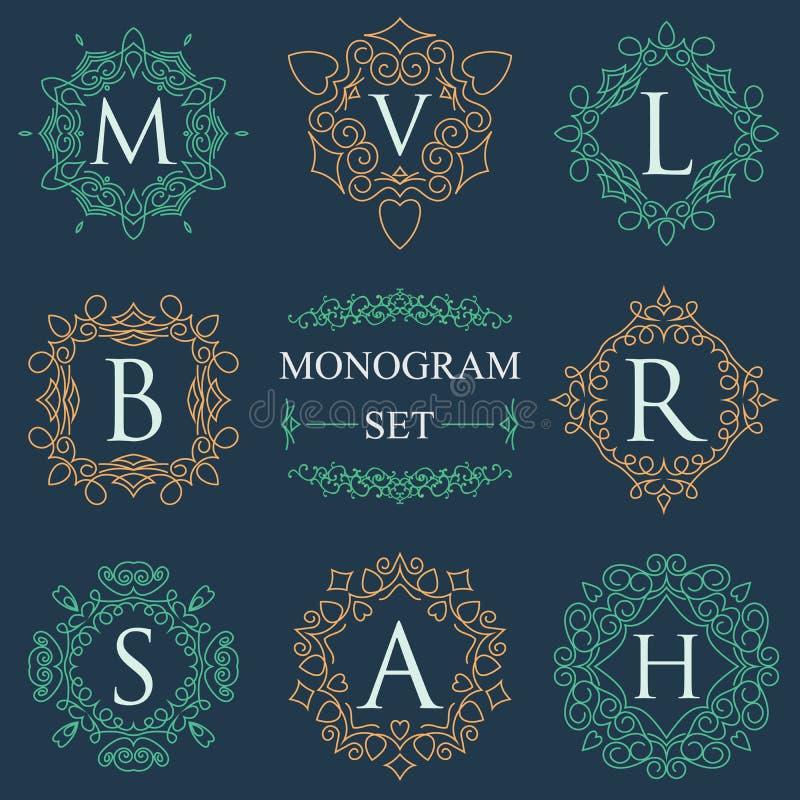 Τα λογότυπα μονογραμμάτων καθορισμένα το γραφικό πρότυπο λογότυπων ακμάζουν τις κομψές γραμμές διακοσμήσεων Επιχειρησιακό σημάδι, απεικόνιση αποθεμάτων