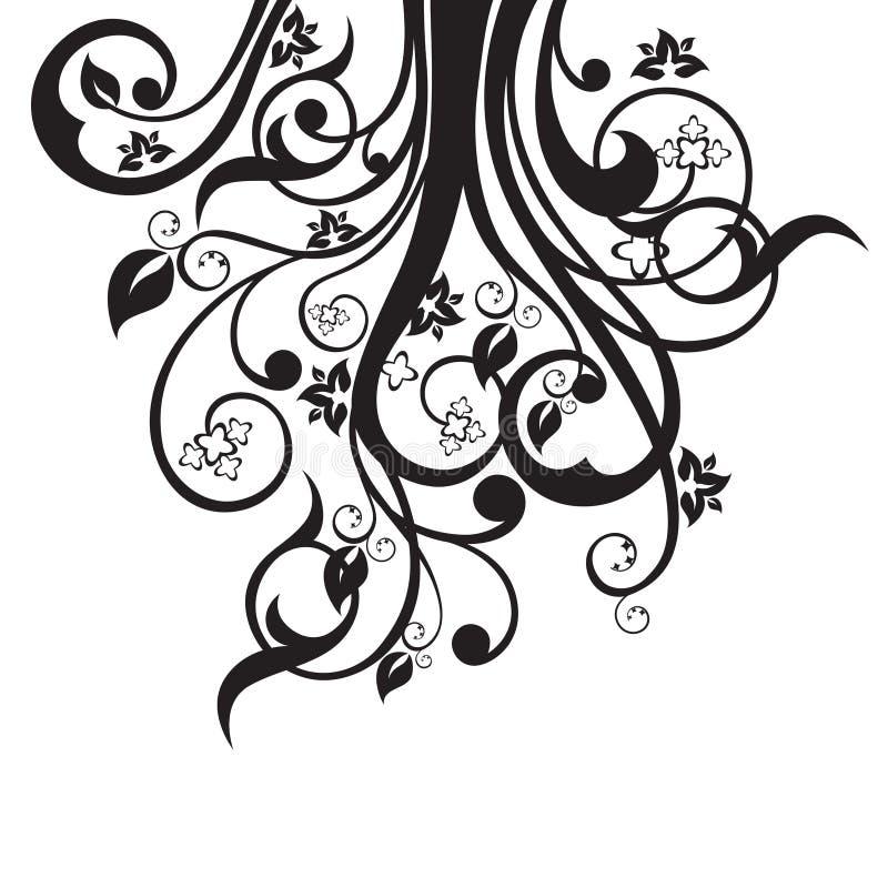 Τα λουλούδια, αφήνουν και στροβιλίζονται τη σκιαγραφία στο Μαύρο απεικόνιση αποθεμάτων