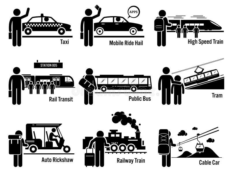 Τα οχήματα και τους ανθρώπους δημόσιου μέσου μεταφοράς εδάφους καθορισμένους Clipart ελεύθερη απεικόνιση δικαιώματος