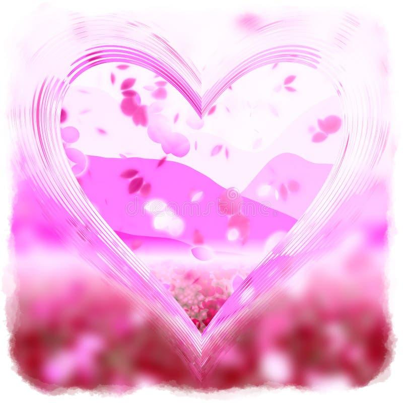 τα πέταλα καρδιών αυξήθηκ&alpha διανυσματική απεικόνιση