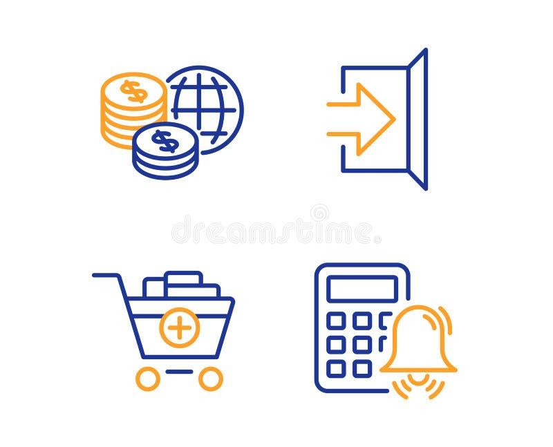 Τα παγκόσμια χρήματα, έξοδος και προσθέτουν τα εικονίδια προϊόντων καθορισμένα r Παγκόσμιες αγορές, διαφυγή, κάρρο αγορών r ελεύθερη απεικόνιση δικαιώματος