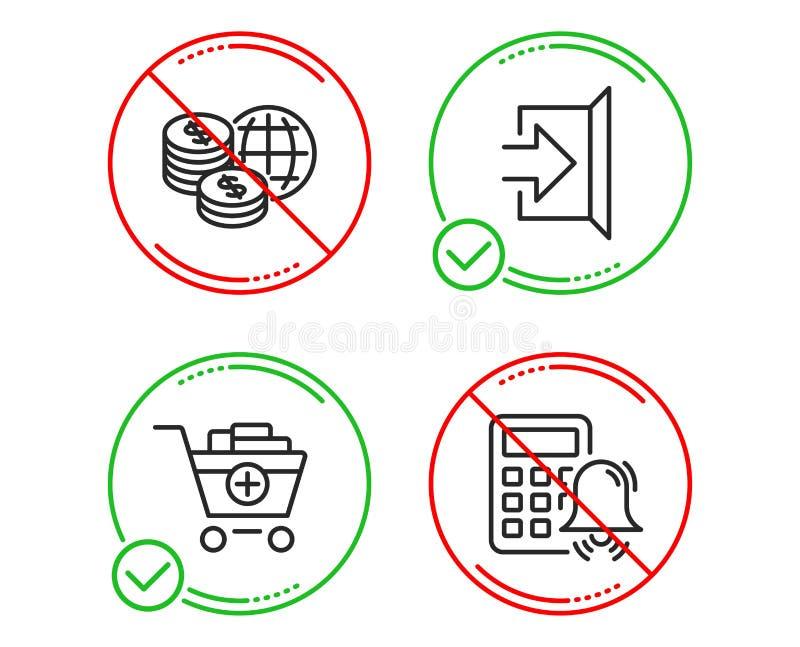 Τα παγκόσμια χρήματα, έξοδος και προσθέτουν τα εικονίδια προϊόντων καθορισμένα r Παγκόσμιες αγορές, διαφυγή, κάρρο αγορών r διανυσματική απεικόνιση
