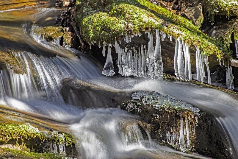 Τα παγωμένα παγάκια κρεμούν πέρα από έναν μικρό κολπίσκο το χειμώνα στοκ φωτογραφία με δικαίωμα ελεύθερης χρήσης
