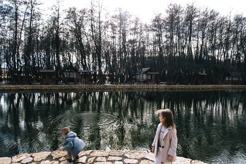 Τα παιδιά έχουν τη διασκέδαση και παίζουν κοντά στο νερό ευτυχή παιδιά που τρέχουν πλησίον στη λίμνη στοκ εικόνες με δικαίωμα ελεύθερης χρήσης