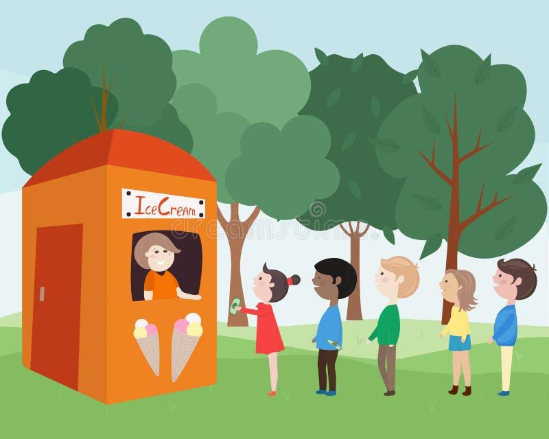 Τα παιδιά αγοράζουν το παγωτό απεικόνιση αποθεμάτων