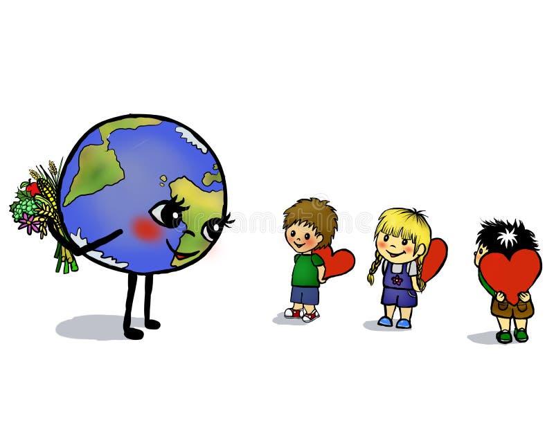 Τα παιδιά δίνουν την αγάπη καρδιών για το πλανήτη Γη διανυσματική απεικόνιση